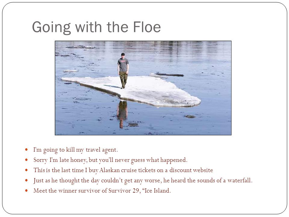 Going with the Floe I m going to kill my travel agent.