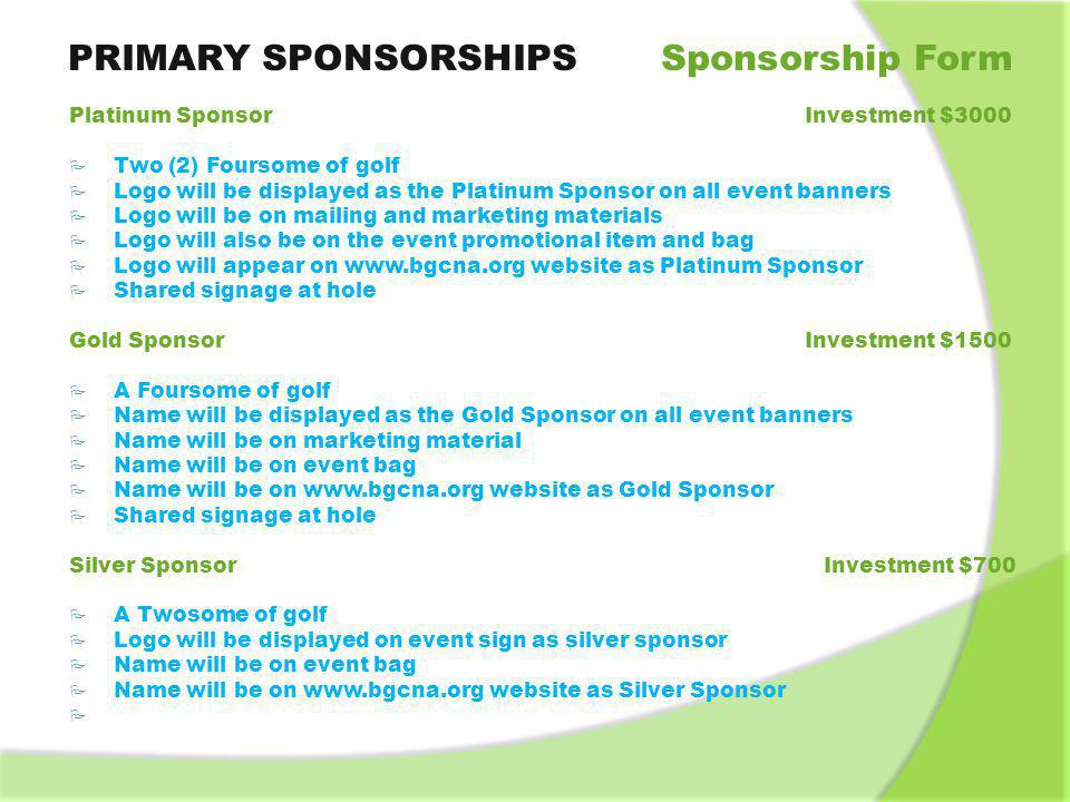 PRIMARY SPONSORSHIPS Sponsorship Form