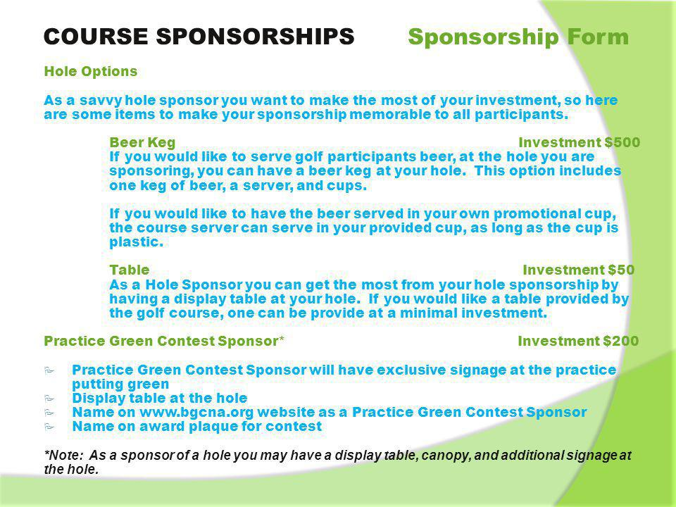 COURSE SPONSORSHIPS Sponsorship Form