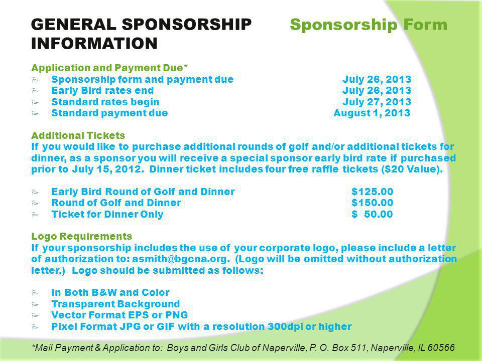 GENERAL SPONSORSHIP Sponsorship Form INFORMATION