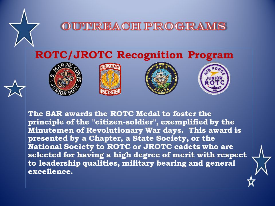 Outreach Programs ROTC/JROTC Recognition Program