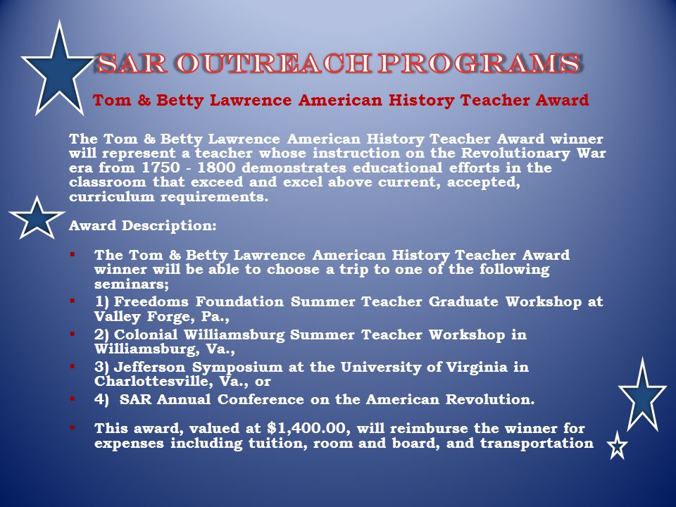 Tom & Betty Lawrence American History Teacher Award