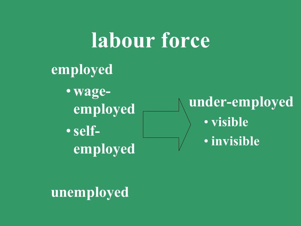 labour force wage-employed self-employed under-employed unemployed