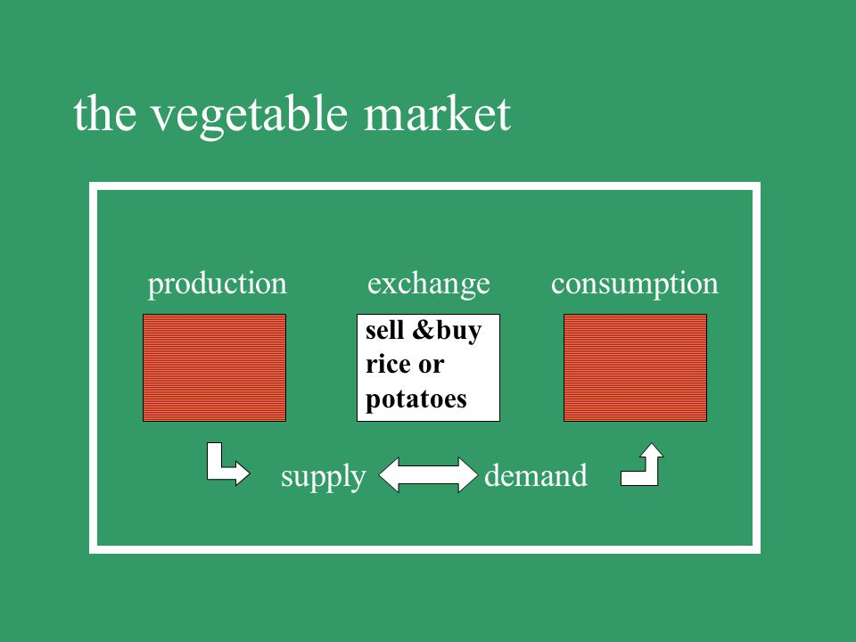 the vegetable market production exchange consumption supply demand