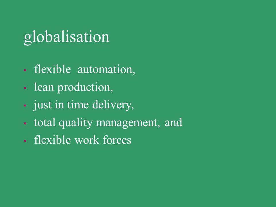 globalisation flexible automation, lean production,