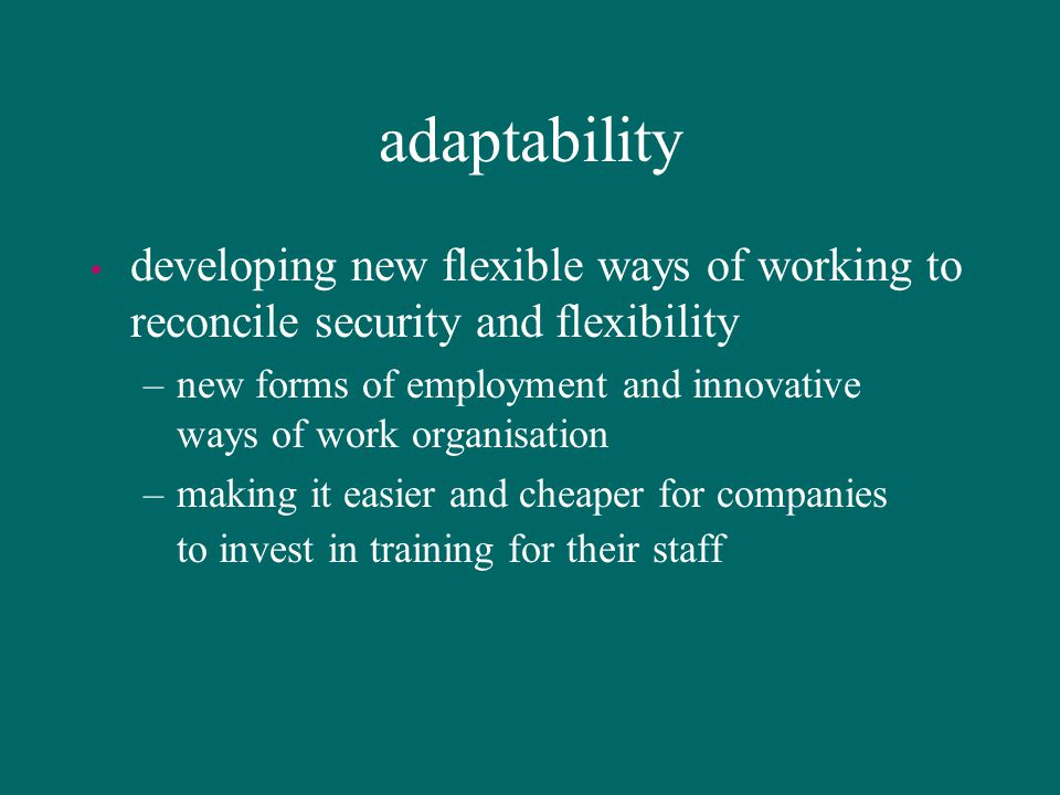 adaptability developing new flexible ways of working to reconcile security and flexibility.