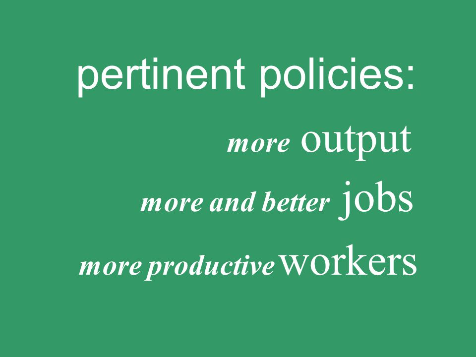 pertinent policies: more productive workers more output