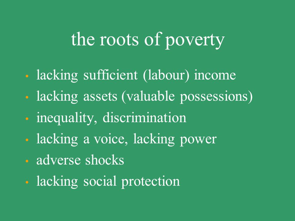 the roots of poverty lacking sufficient (labour) income
