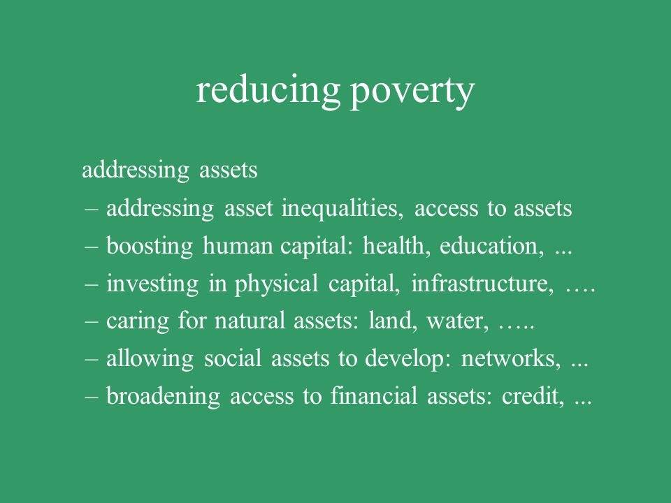reducing poverty addressing assets