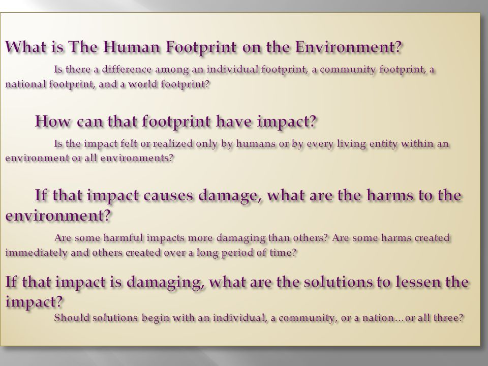 What is The Human Footprint on the Environment