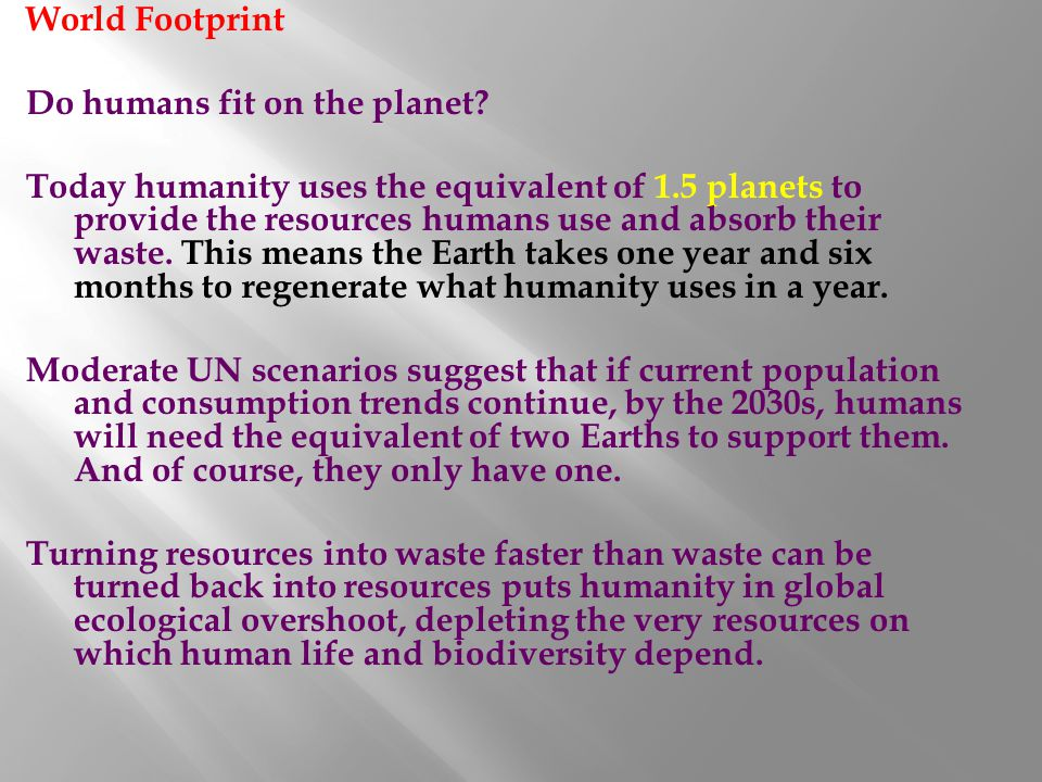 World Footprint Do humans fit on the planet