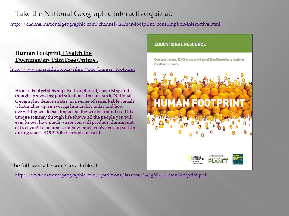 Take the National Geographic interactive quiz at: