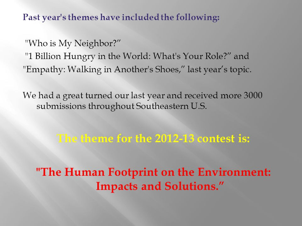 The theme for the 2012-13 contest is: