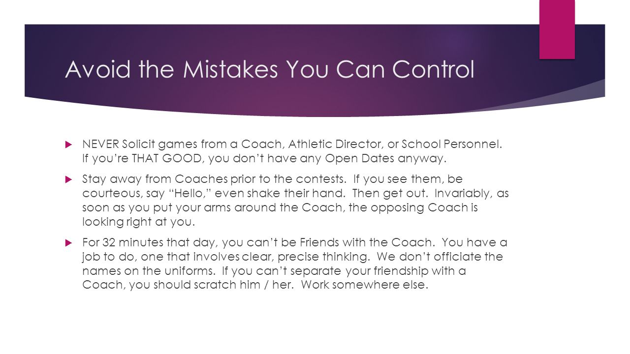 Avoid the Mistakes You Can Control