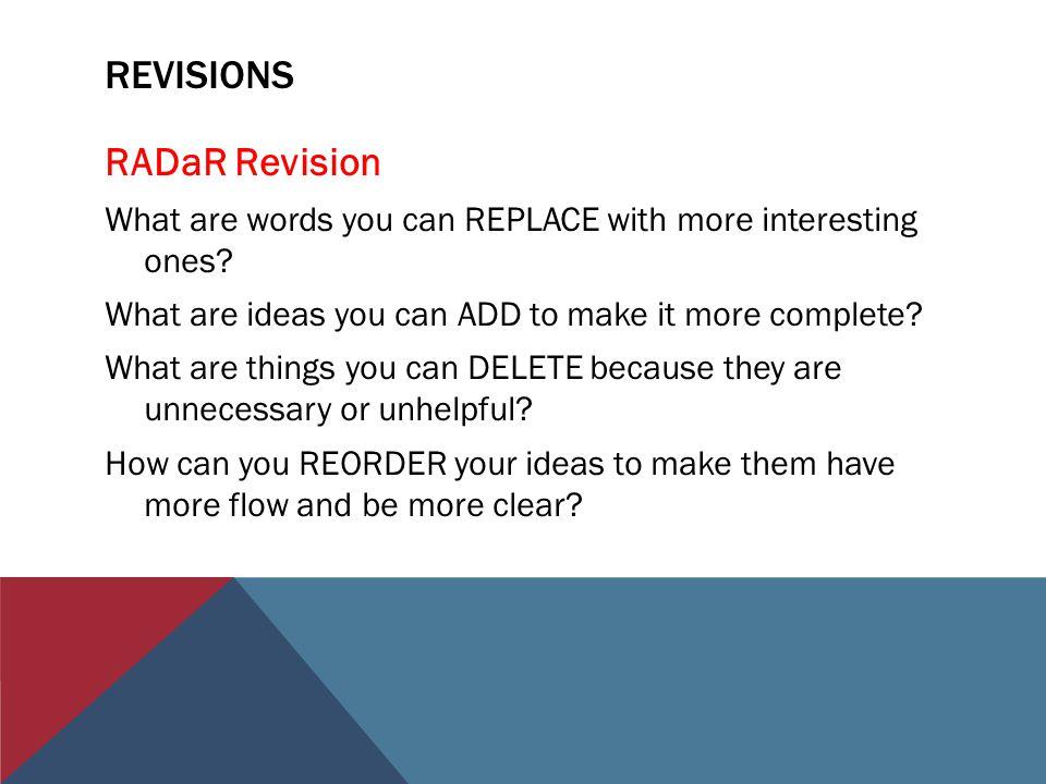 revisions RADaR Revision