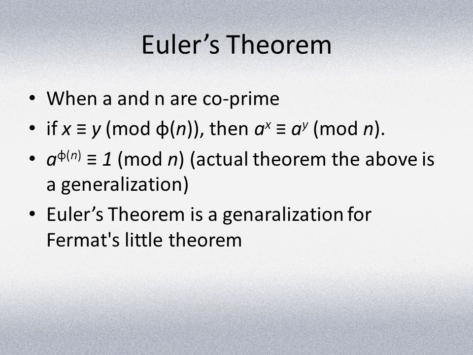 Euler's Theorem When a and n are co-prime