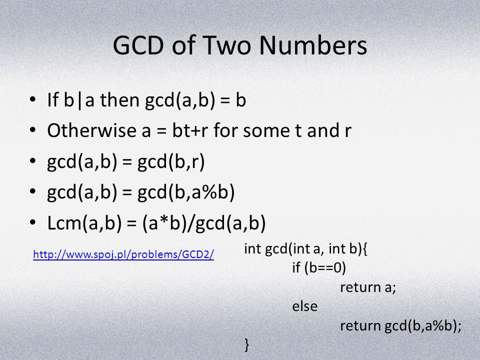 GCD of Two Numbers If b|a then gcd(a,b) = b