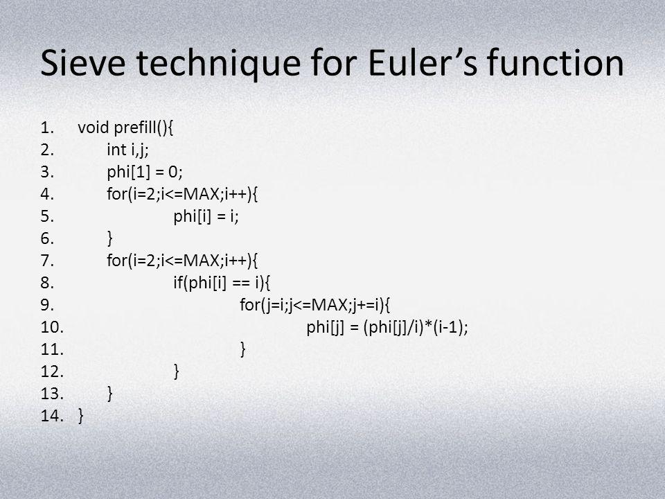 Sieve technique for Euler's function