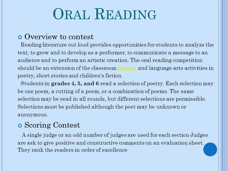 Oral Reading Overview to contest Scoring Contest