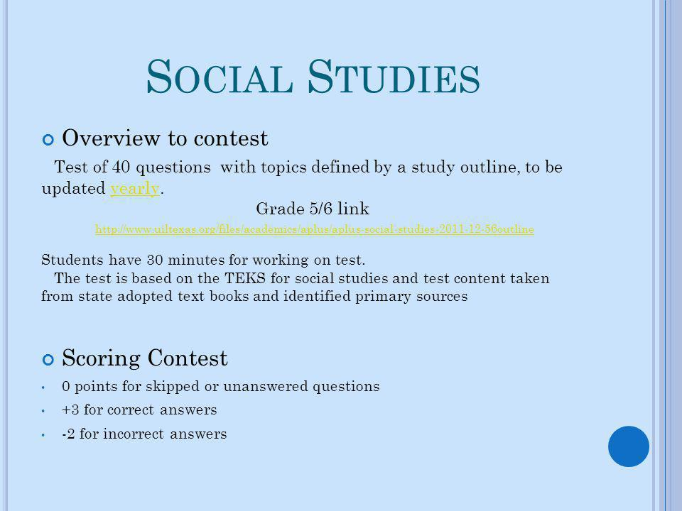 Social Studies Overview to contest