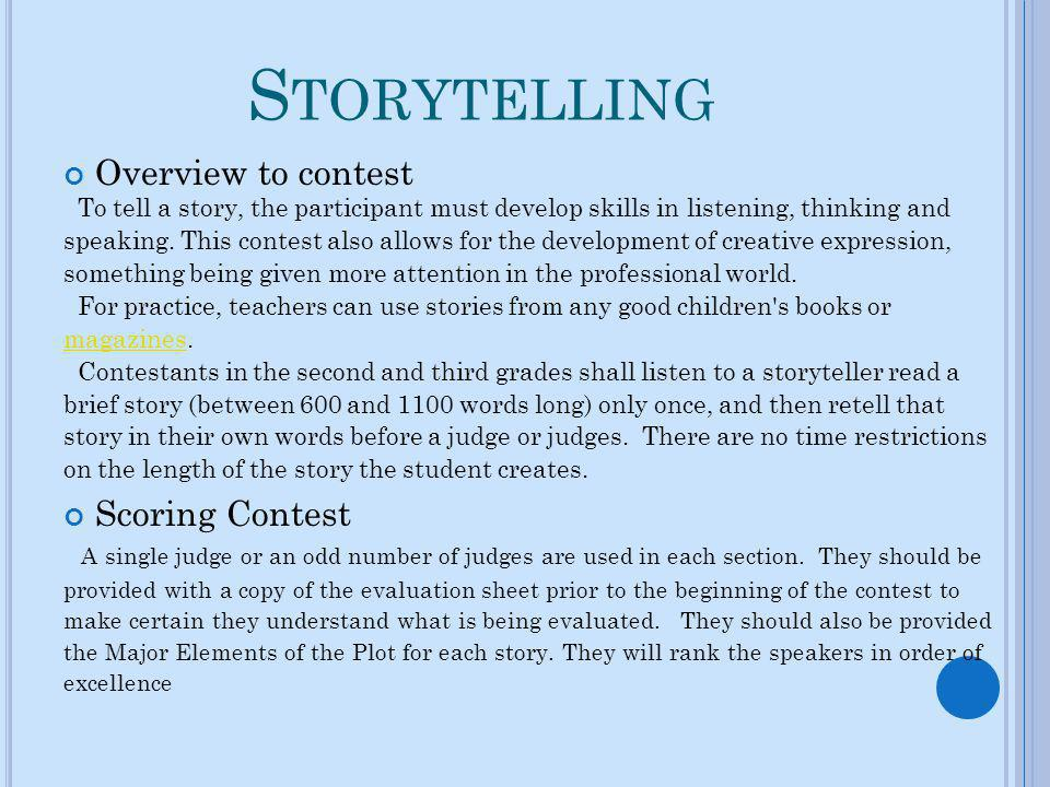 Storytelling Overview to contest Scoring Contest