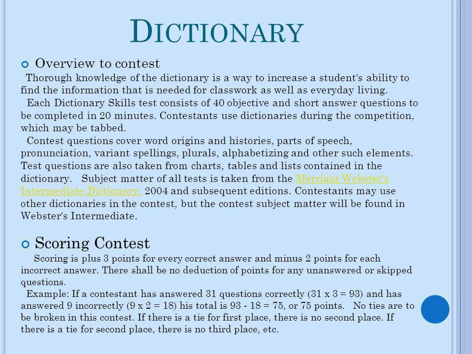 Dictionary Scoring Contest Overview to contest
