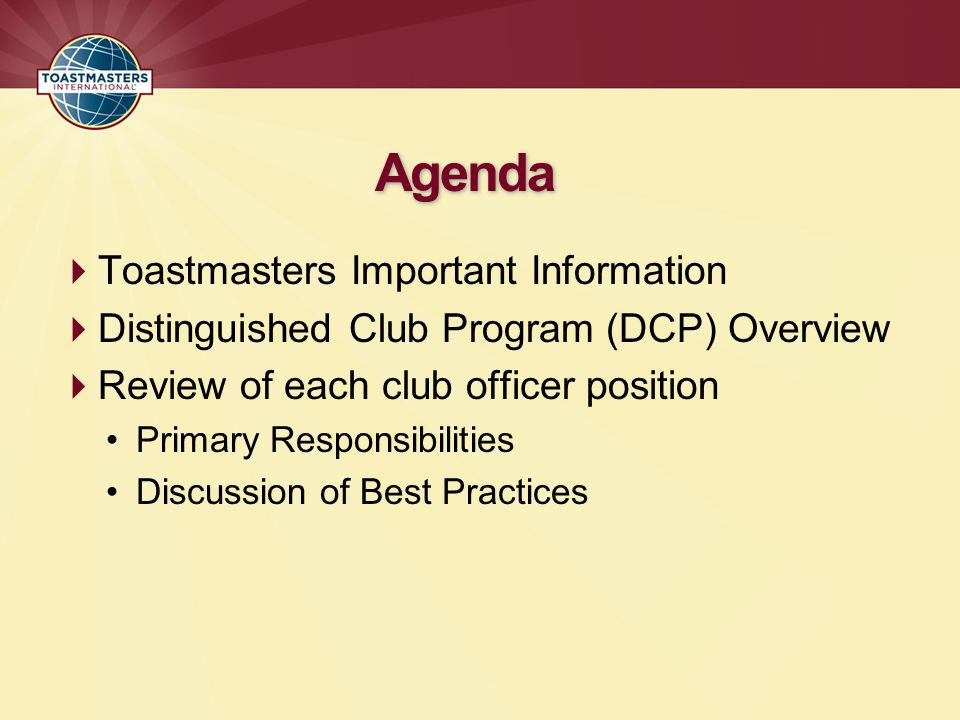 Agenda Toastmasters Important Information