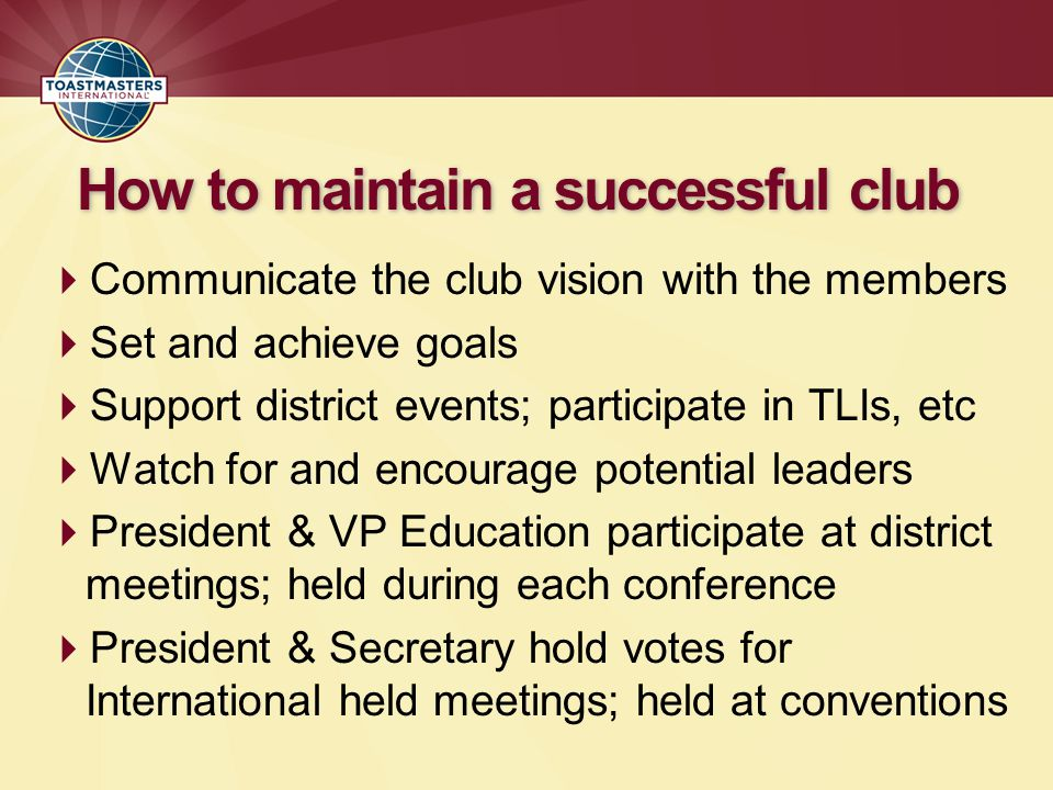 How to maintain a successful club