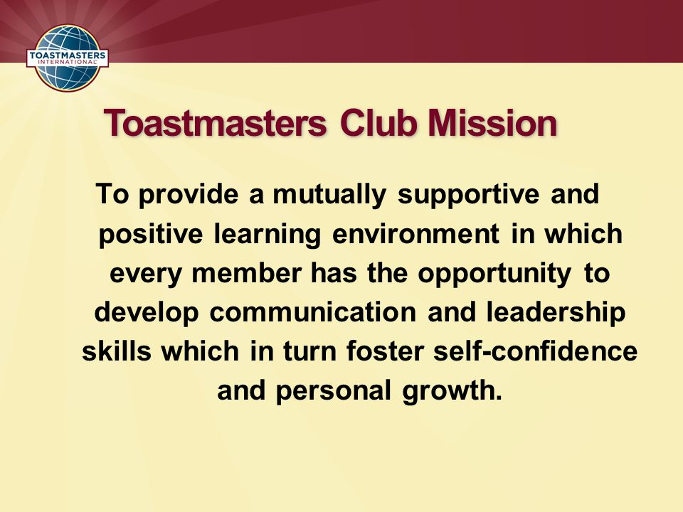 Toastmasters Club Mission