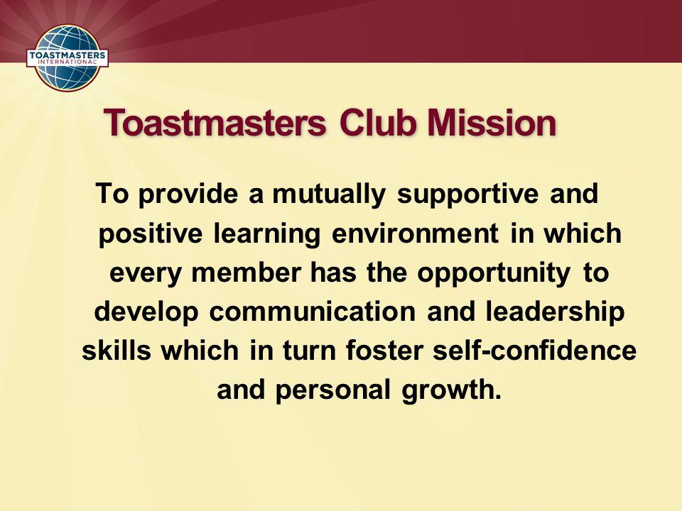 Toastmasters Club Mission