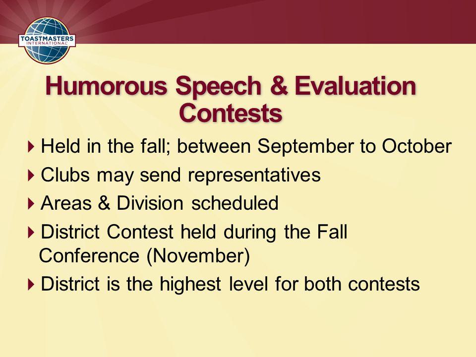 Humorous Speech & Evaluation Contests