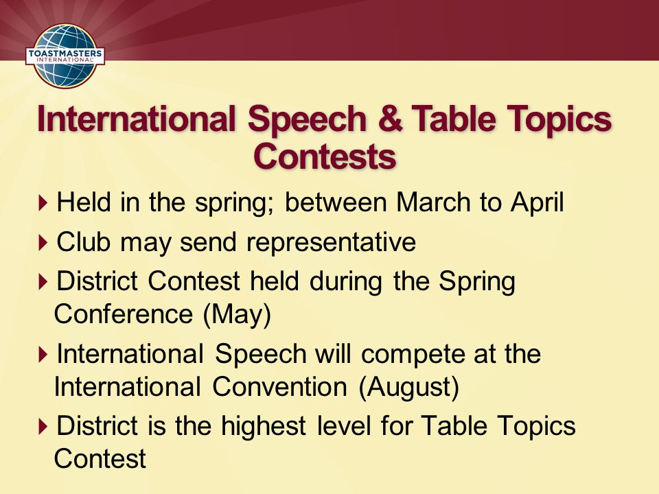 International Speech & Table Topics Contests