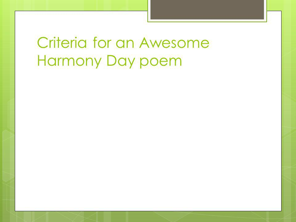 Criteria for an Awesome Harmony Day poem