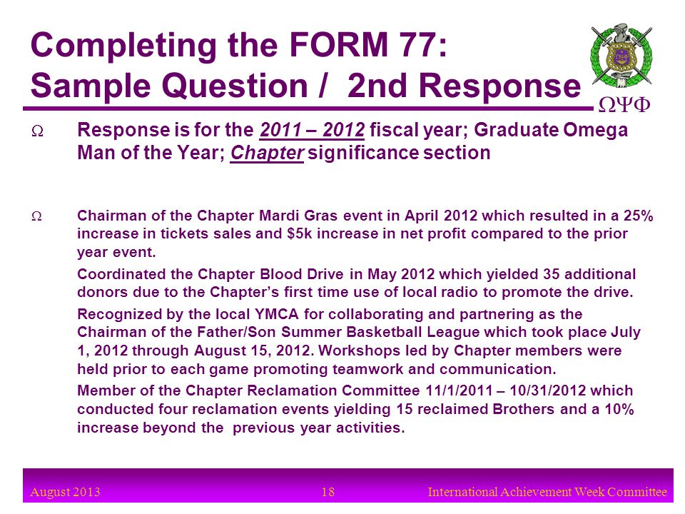 Completing the FORM 77: Sample Question / 2nd Response