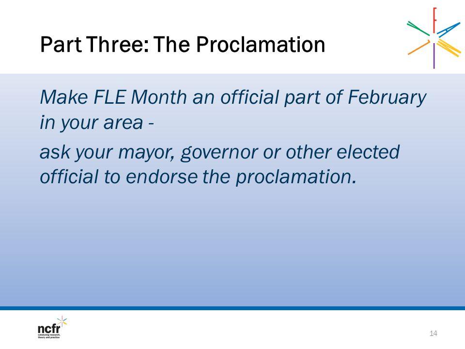 Part Three: The Proclamation