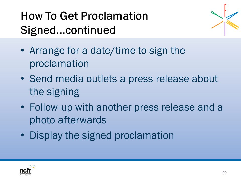 How To Get Proclamation Signed…continued