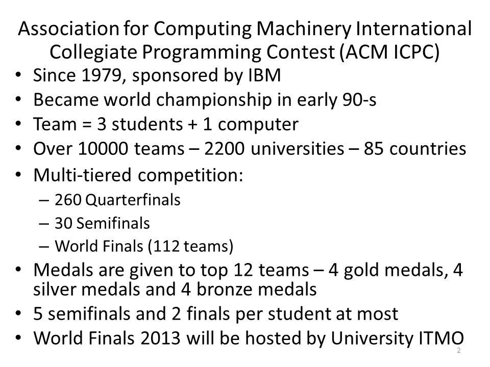 Association for Computing Machinery International Collegiate Programming Contest (ACM ICPC)