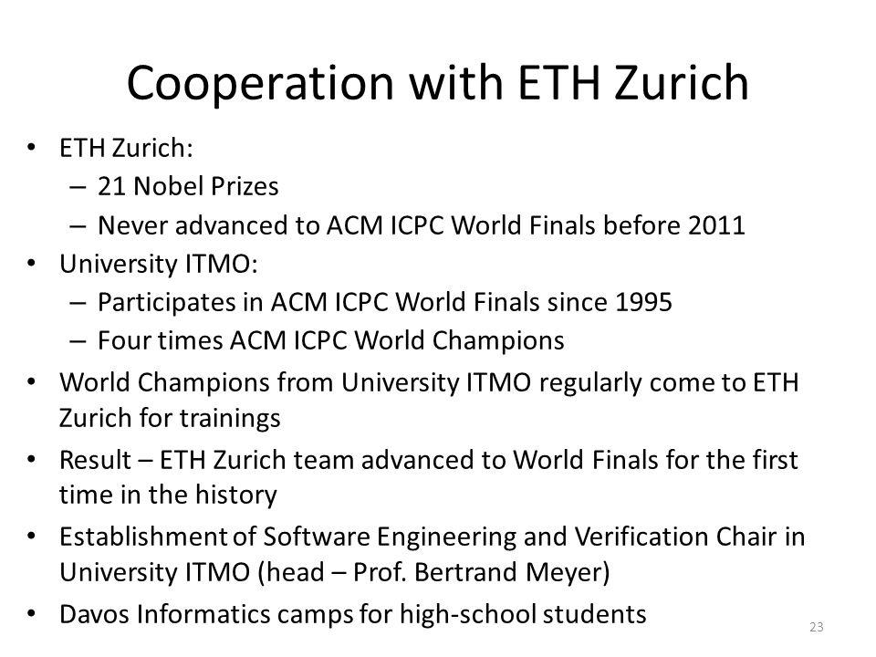 Cooperation with ETH Zurich