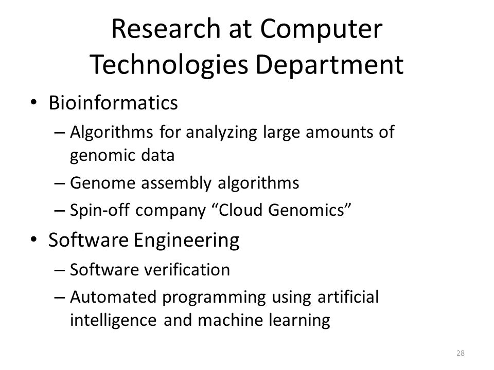 Research at Computer Technologies Department