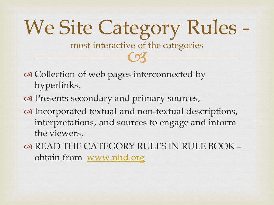 We Site Category Rules - most interactive of the categories
