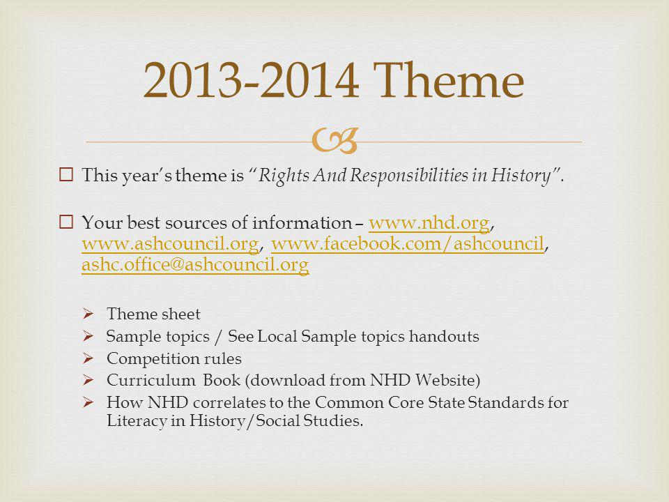2013-2014 Theme This year's theme is Rights And Responsibilities in History .