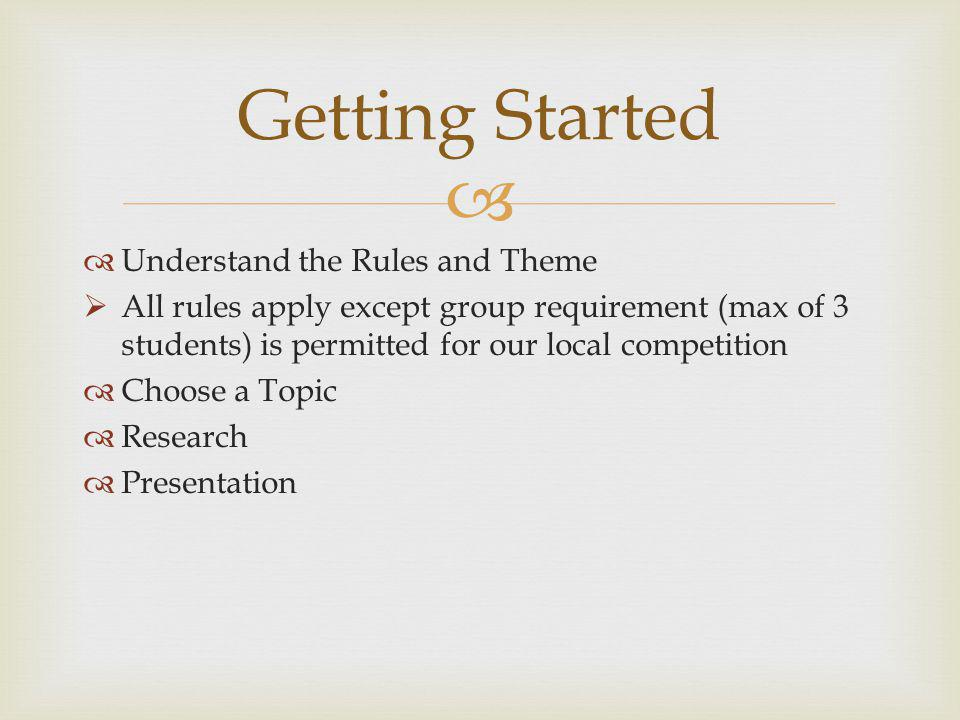 Getting Started Understand the Rules and Theme