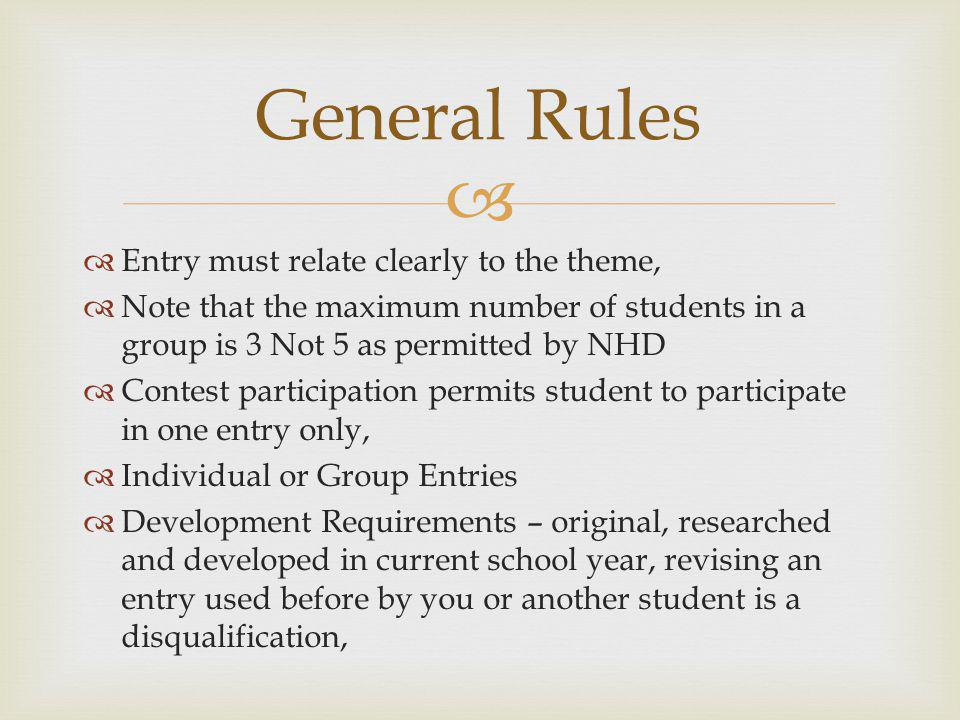 General Rules Entry must relate clearly to the theme,