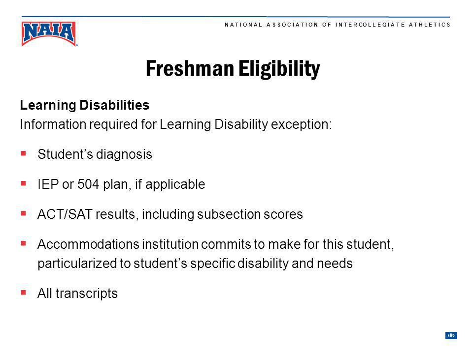 Freshman Eligibility Learning Disabilities