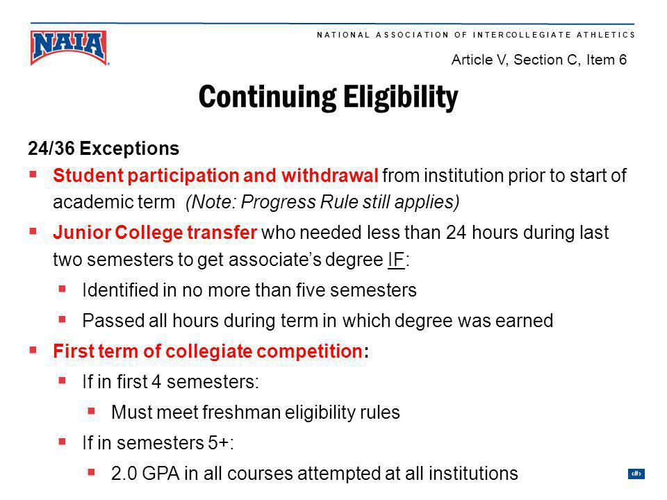 Continuing Eligibility