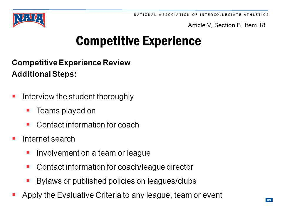 Competitive Experience