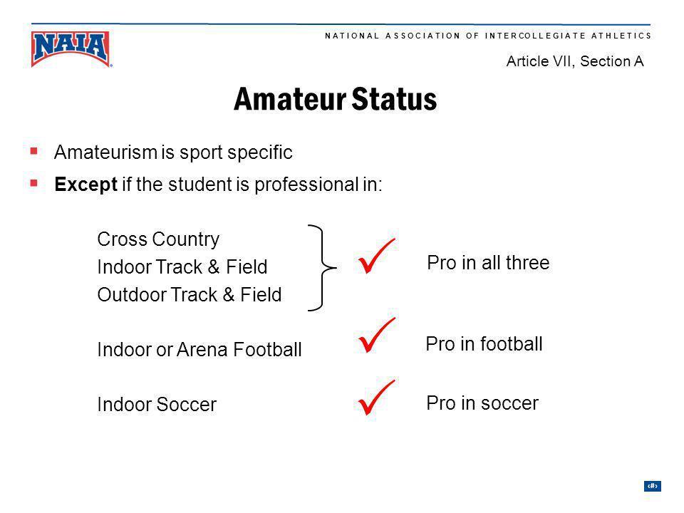 P P P Amateur Status Amateurism is sport specific