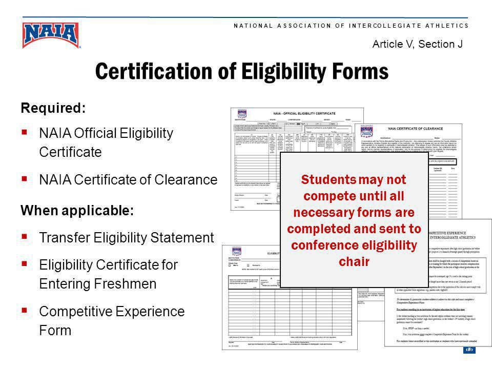 Certification of Eligibility Forms