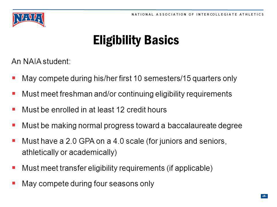 Eligibility Basics An NAIA student: