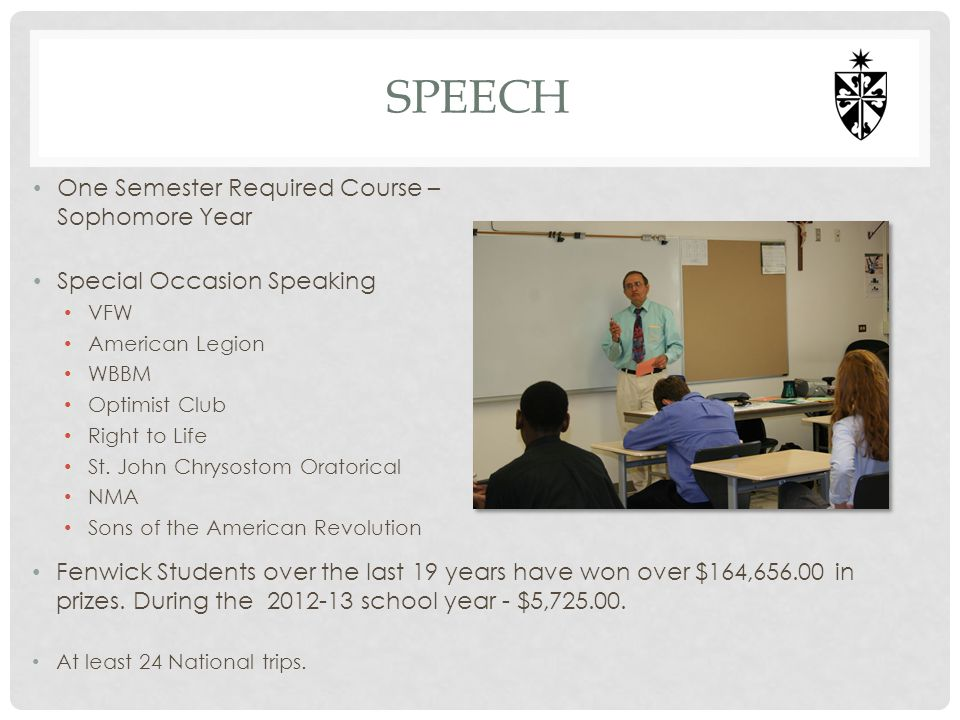 SPEECH One Semester Required Course – Sophomore Year